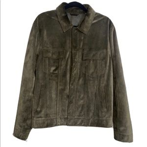Vince Suede Leather Trucker Jacket Olive Sz Large